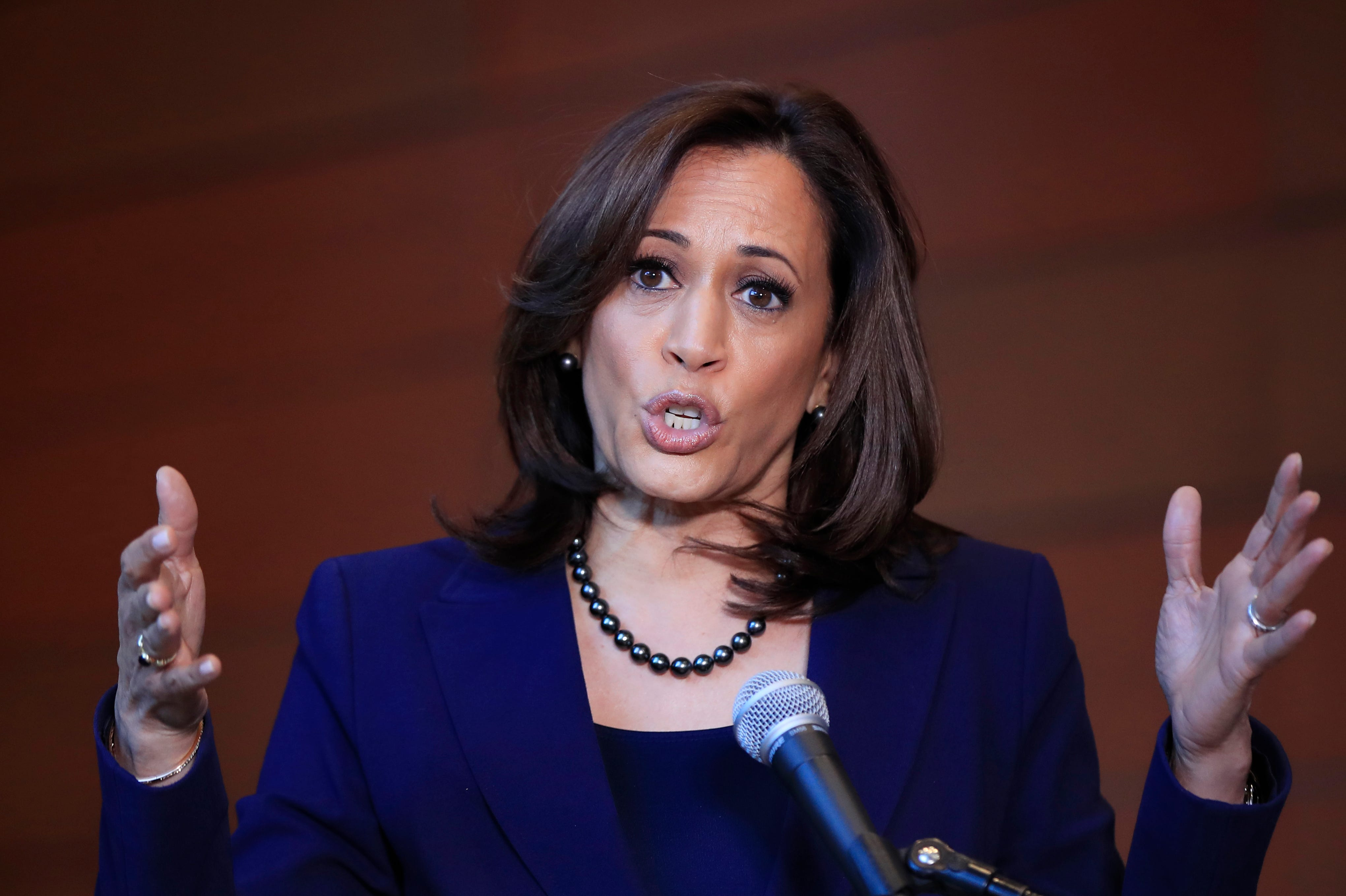 FILE - In this Monday, Jan. 21, 2019, file photo, Sen. Kamala Harris, D-Calif., speaks to members of the media at her alma mater, Howard University, in Washington, following her announcement earlier in the morning that she will run for president. Some Democratic presidential hopefuls are enthusiastically embracing plans to raise taxes on the richest Americans. Harris has proposed rolling back the recent GOP tax cuts for wealthier families to pay for tax rebates for middle- and lower-income earners.