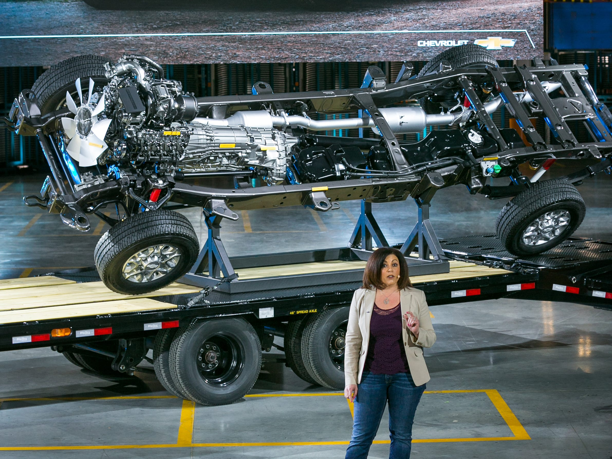 Chevrolet Silverado HD Lead Engineer Jaclyn McQuaid shows off the chassis of the 2020 Chevrolet Silverado Heavy Duty Tuesday, February 5, 2019 at General Motors Flint Assembly, where the trucks will be built in Flint, Michigan. The longer, wider and taller Silverado HD features a new 6.6L V-8 gas engine with direct injection mated to a six-speed automatic transmission.