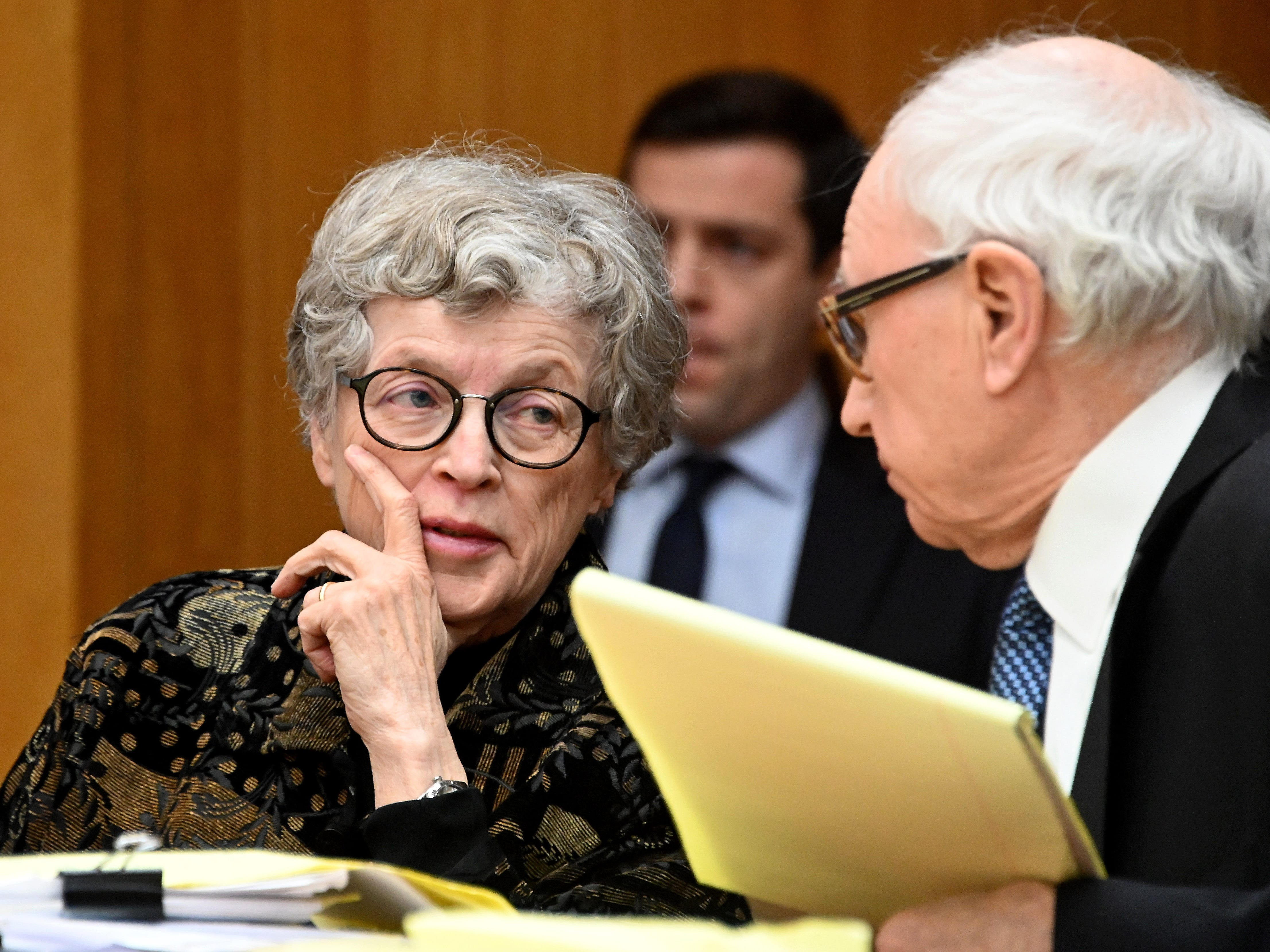 Lou Anna K. Simon talks with defense attorney Mayer Morganroth during her pretrial hearing Tuesday morning in Charlotte, Michigan.