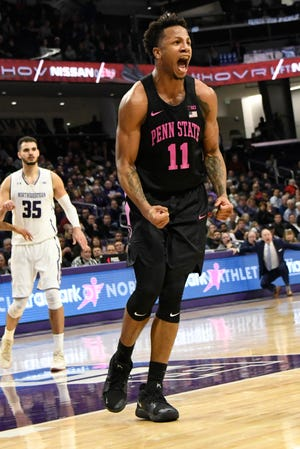 Penn State forward Lamar Stevens (11) reacts after getting a turnover against Northwestern during the second half  Monday. Penn State won 59-52.