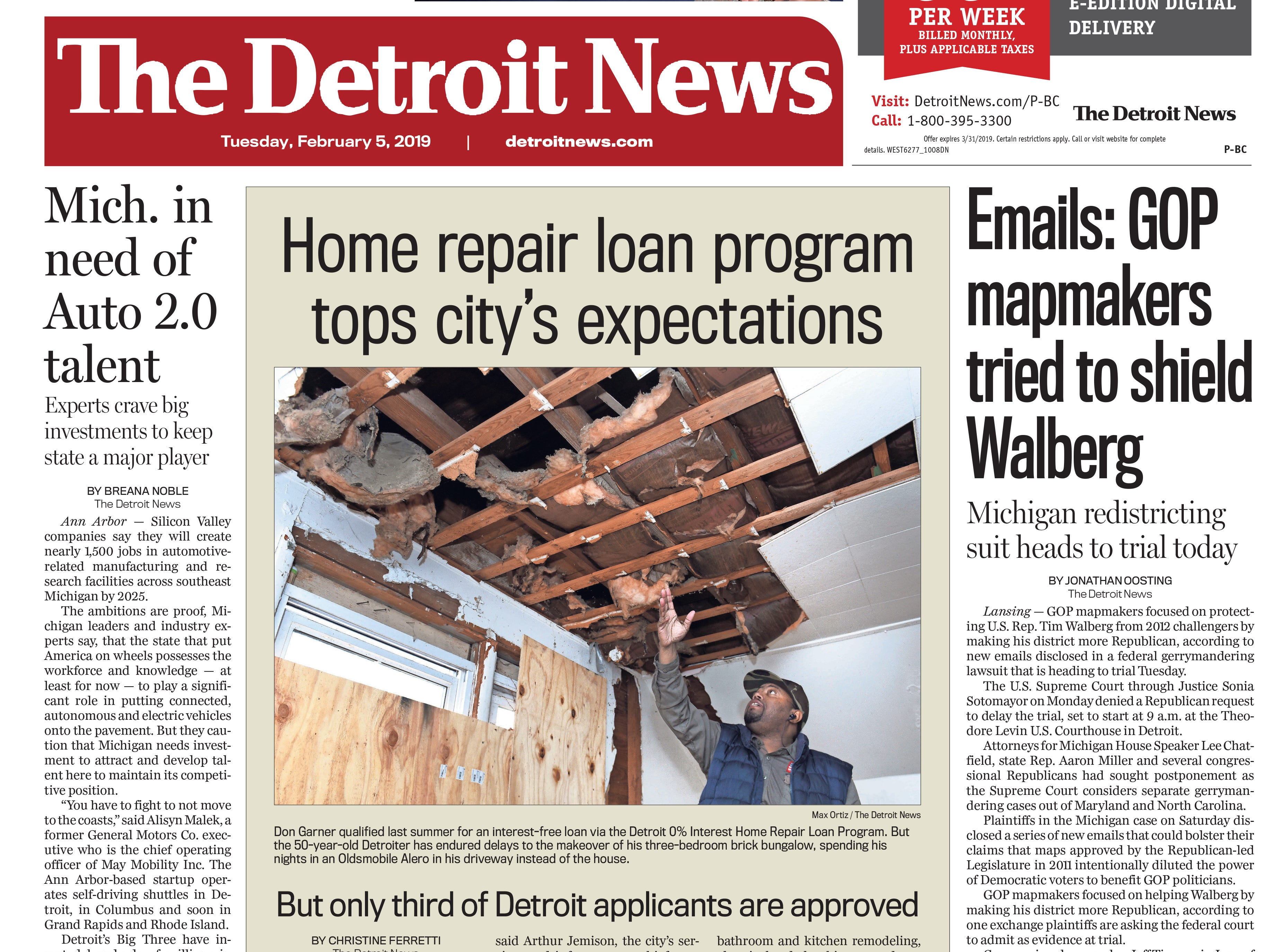 The front page of the Detroit News on Tuesday, February 5, 2019.