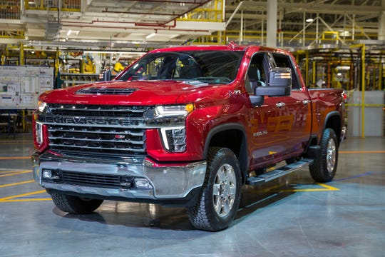 Chevrolet unveils the full lineup of its 2020 Silverado Heavy Duty Tuesday, February 5, 2019 at General Motors Flint Assembly where the trucks will be built in Flint, Michigan. The longer, wider and taller Silverado HD features a new 6.6L V-8 gas engine with direct injection mated to a six-speed automatic transmission.