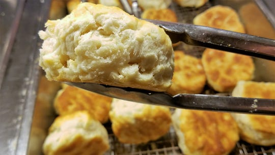 Fluffy homemade biscuits ready for apple butter or sausage gravy at the Windy Hollow Restaurant.