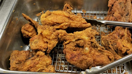 Fried chicken with a light-but-crunchy, flavorful spiced coating may be found on the breakfast buffet at the Windy Hollow Restaurant.