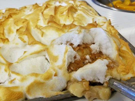 Cold banana pudding under meringue at the Windy Hollow Restaurant.