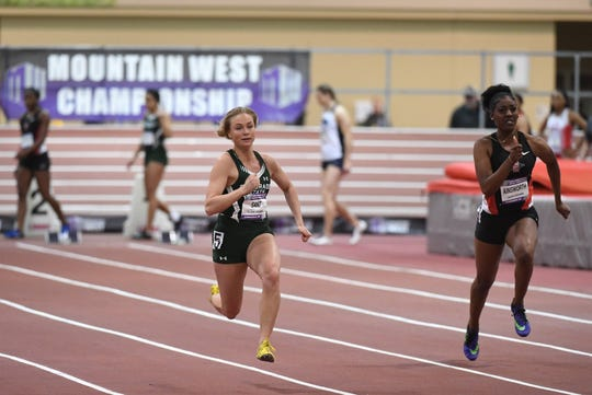 23 FEB 2018: The 2018 Mountain West Indoor Track and Field Championship takes place at the Albuquerque Convention Center in Albuquerque, NM. Justin Tafoya/NCAA Photos