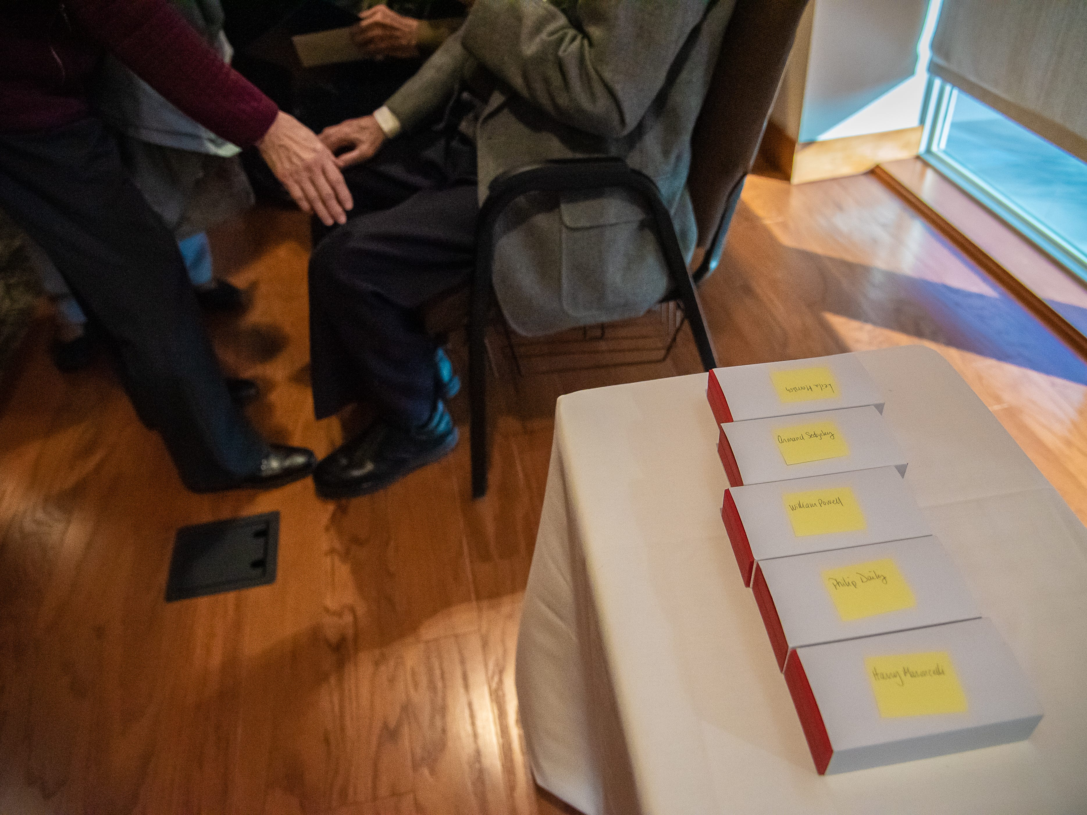 French Legion of Honor Medals are boxed and labeled with the names of five local World War II veterans following a presentation ceremony on Monday, February 4, 2019, at the Good Samaritan Water Valley Resort in Windsor.