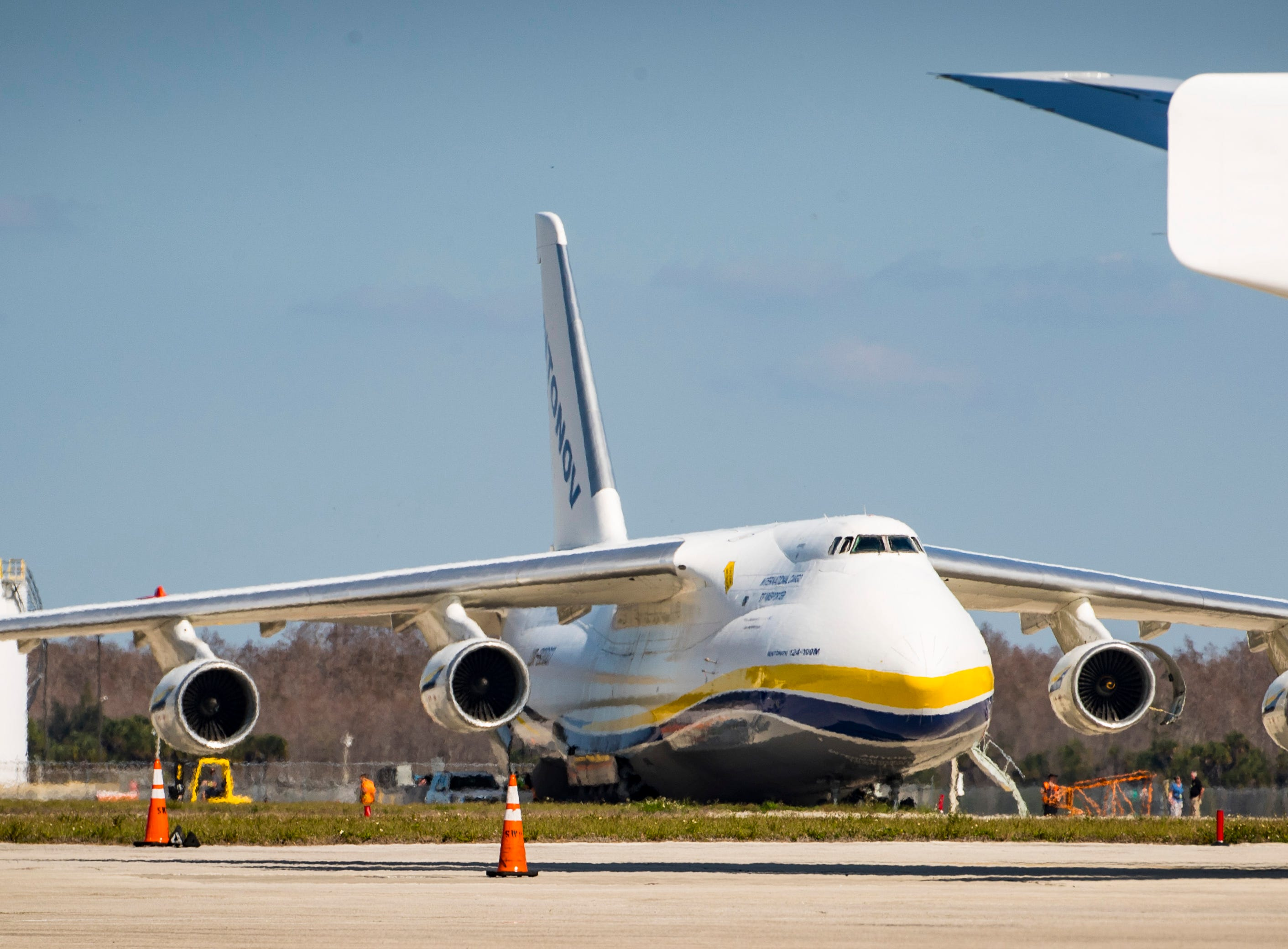 Southwest Florida got the chance to observe one of the largest aircraft in the world, the Antonov An-124, land and unload cargo at Southwest Florida International Airport in Fort Myers, FL, Tuesday, February 5, 2019.