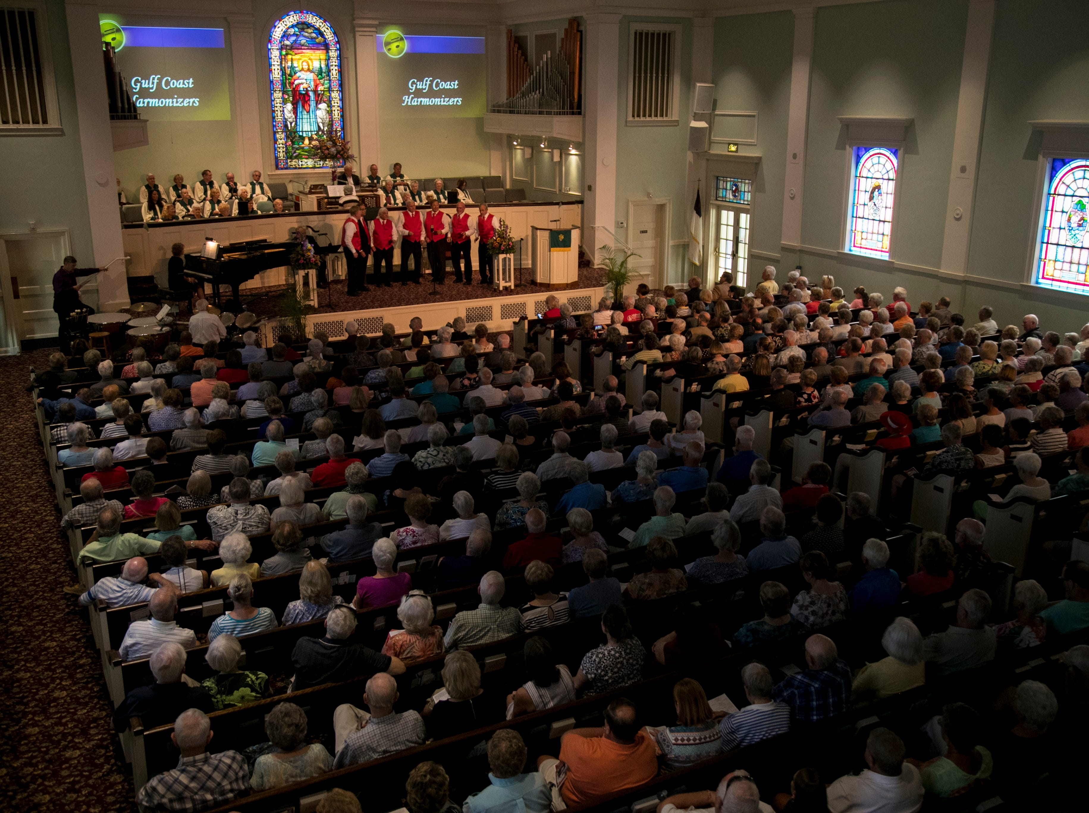 The Gulf Coast Harmonizers perform to a packed house on Tuesday, Feb. 5, 2019, during the annual Mrs. Edison's Hymn Sing at First Presbyterian Church in Fort Myers. An overflow room was set up so people could watch the live stream of the performances.