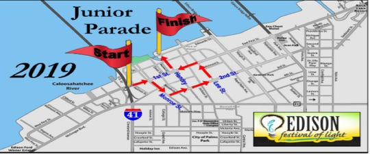 The route for Sunday's 2019 Edison Festival of Light Junior Parade in downtown Fort Myers