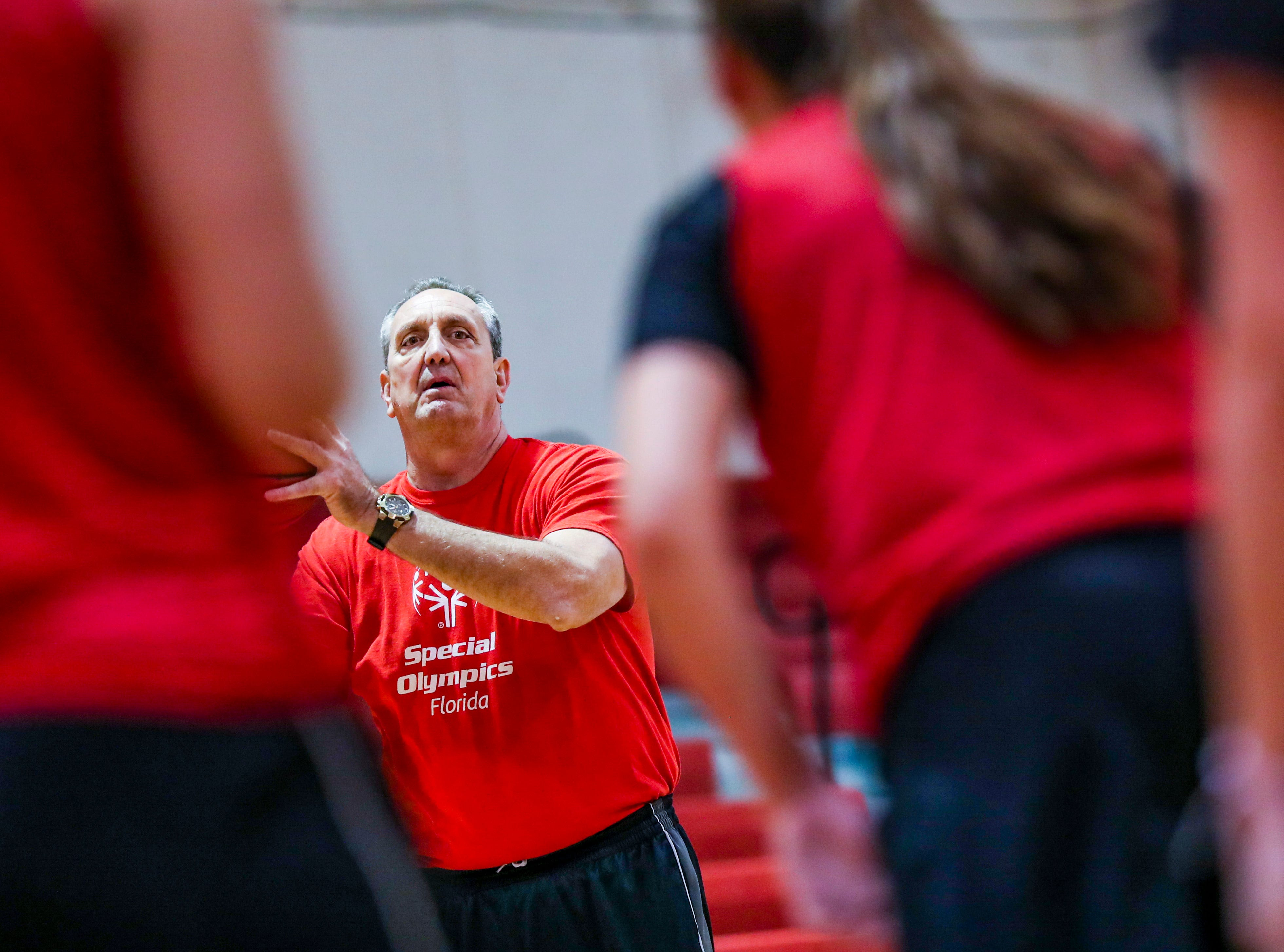 North Fort Myers High School girls basketball assistant coach Brad Branson during practice at the school Thursday. Brad Branson, 60, a 1976 North Fort Myers High graduate who played two years in the NBA and 13 more overseas in Italy and Spain, has returned home to spend time with his aging former Edison coach, Hugh Thimlar, and with his kids in grades 11 and 9. He is teaching a philanthropy course at North and helping coach the girls basketball team.