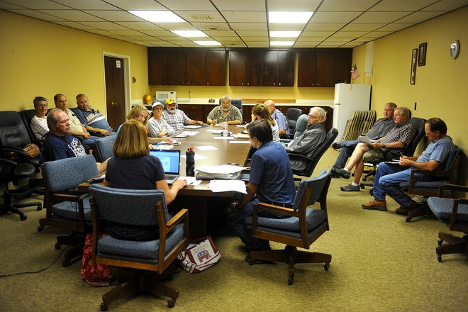 The Cascade County Republican Central Committee meets in the basement of the Wheat Building in 2015.