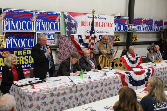 The Cascade County Republican Central Committee held a candidate forum in 2016. Shown from left to right are House District 19 candidates Wendy McKamey and Randy Pinocci; Senate District 10 candidates Steve Fitzpatrick and J.C. Kantorowicz; Cascade County Republican Committee Chairman George Paul; House District 20 candidates Sheridan Buck and Fred Anderson; and House District 22 candidates Lola Galloway and Cleve Loney.
