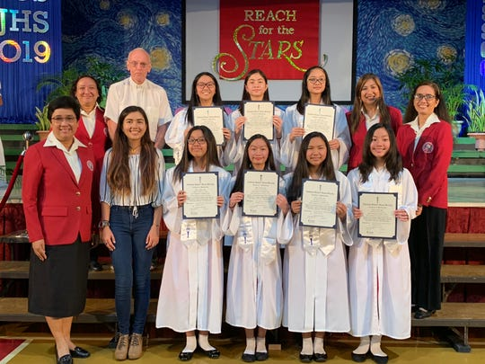Santa Barbara Catholic School inducted new members to the National Junior Honor Society on Jan. 30. Congratulations to new members. Pictured in the first row from left: Arlette Fojas, Mary Coloma, Victoria Jose, Micah Lacson. Second row from left: Shannah Solamillos, Alexandra Gomez, and Samantha Pascua. They are joined by Assistant Principal for Faith Formation Bernadette Alcantara, Fr. Fran Hezel SJ, NJHS Advisor Maricon Gozum, Assistant Principal for Curriculum and Grants Arleen Suplido, SBCS Class of 2011 NJHS alumna Natasha Hagans, and Principal Sister Maria Rosario Gaite, RSM.