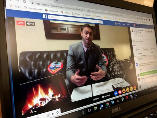 Del. Mike San Nicolas, in Washington, D.C., holds his first Facebook Live press conference Wednesday morning Guam time to talk about what he's doing to resolve issues about World War II claims payment, access to H-2B workers, Compact-impact, earned income tax credit payments, Agent Orange concerns, and the inclusion of Guam in online merchants' drop down menus, among other things.
