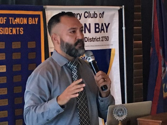 Democratic Sen. Clynt Ridgell talks to the Rotary Club of Tumon Bay  about legalizing recreational marijuana during the club's meeting Feb. 5 at the Pacific Star Resort & Spa.