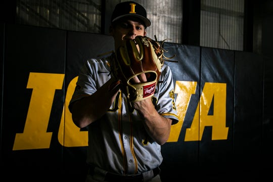 Iowa pitcher Grant Judkins (7) poses for a portrait during Hawkeye baseball media day on Tuesday, Feb. 5, 2019, in Iowa City, Iowa.