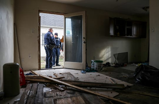 The scene inside an abandoned unit on Essex Court, where the body of Anthony Eldridge was found in June 2018, at the Towne and Terrace housing complex off of 42nd Street and Post Road on Saturday, Dec. 8, 2018. At one point, a camera was mounted on the back of the building to keep watch for police entering the complex.
