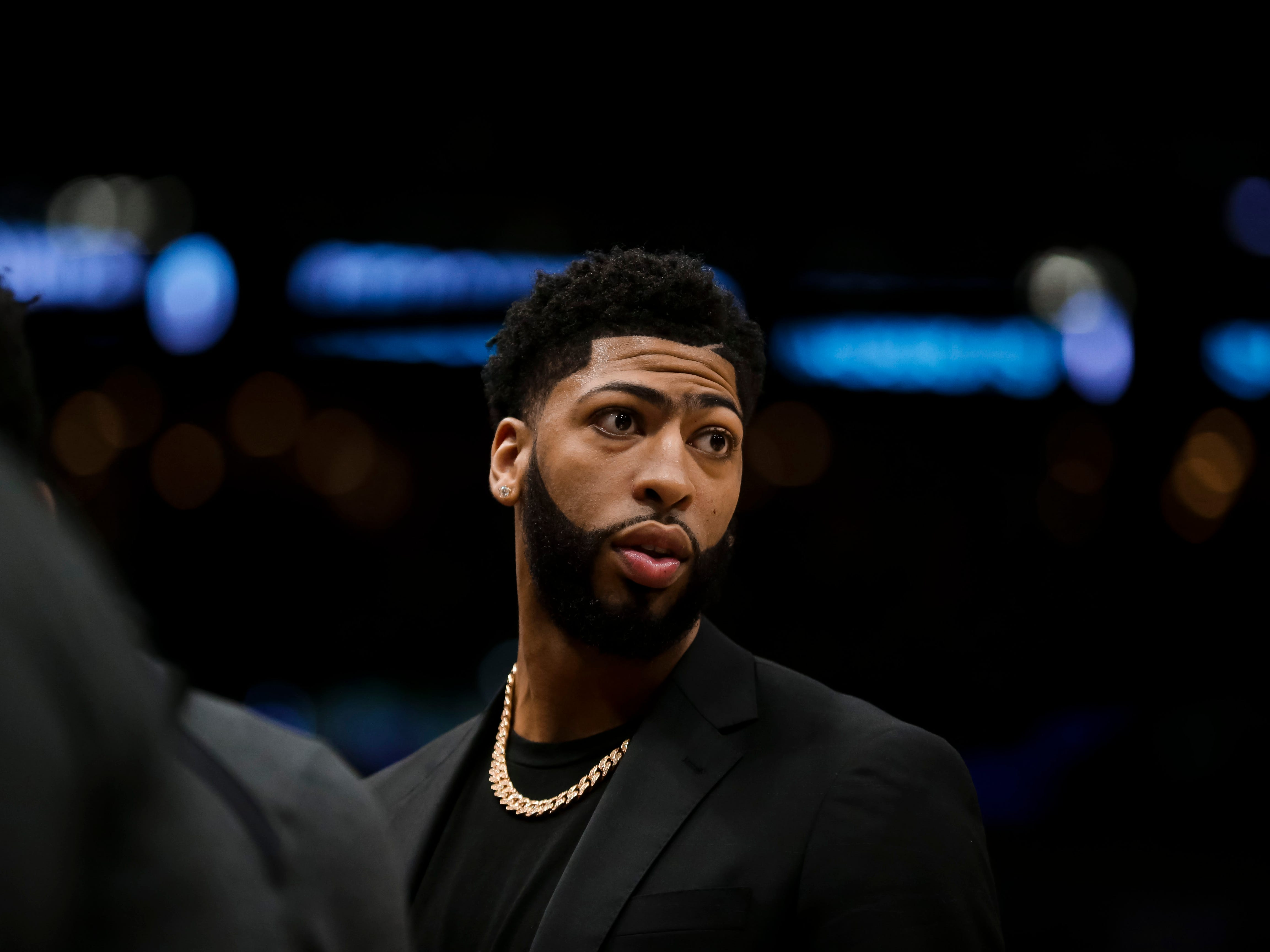 Feb 4, 2019; New Orleans, LA, USA; New Orleans Pelicans forward Anthony Davis (23) during a first quarter timeout against the Indiana Pacers at the Smoothie King Center.