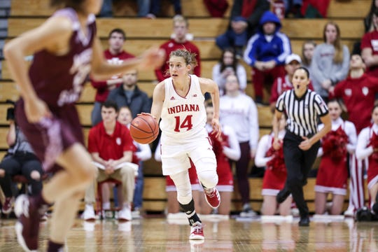 Hoosiers guard Ali Patberg during the game against the Missouri State.