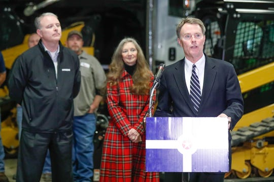 Indianapolis Mayor Joe Hogsett announces a bipartisan four hundred million dollar roadway strip patching program which will include resurfacing 167 miles of roadway, during a press conference held at 1725 S. West St., Indianapolis, on Tuesday, Feb. 5, 2019. The city is now partnering with asphalt vendors to get materials when needed, not when weather allows. Left, Department of Public Works Director, Dan Parker, left. Indianapolis City-County Councillor, District 6, Janice McHenry.