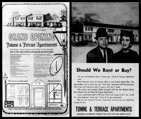 At left, a full-page ad in The Indianapolis Star on April 12, 1964, announcing the grand opening of Towne & Terrace Apartments. At right, an ad in The Indianapolis Star on Nov. 15, 1964, showcasing the new Towne & Terrace Apartments.