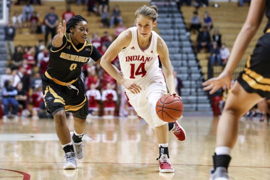 Ali Patberg #14 of the Indiana Hoosiers during the game against the Milwaukee Panthers and the Indiana Hoosiers at Simon Skjodt Assembly Hall in Bloomington, IN.