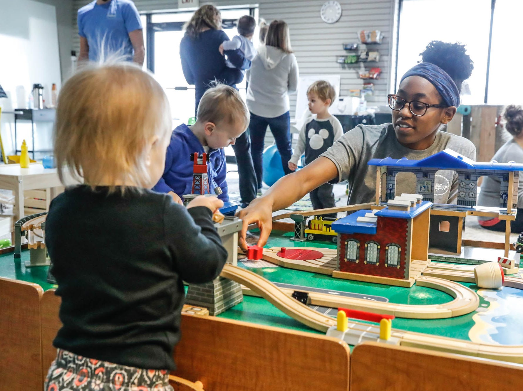 Staff member Maia Wilson, right, plays with Emma Shurtz,  at The Little Village Playroom, 9850 N. Michigan Rd, Carmel, Ind., on Tuesday, Feb. 5, 2019.