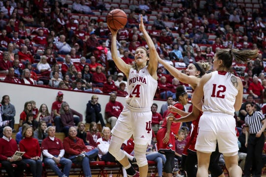 Ali Patberg  (14) leads the Hoosiers with 15.7 points per game this season.