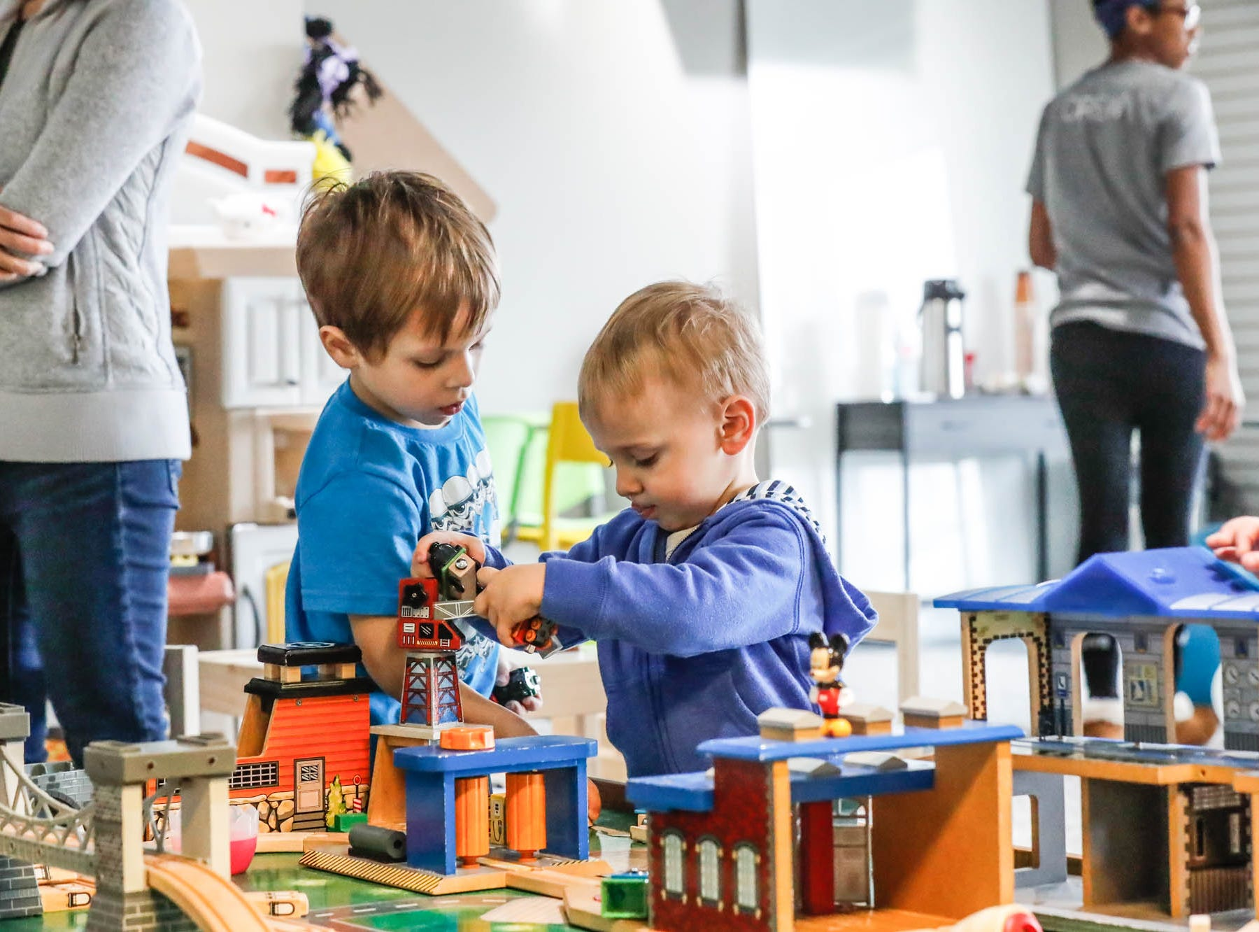 Logan Lanuti, left, and Russell Soucy play together at The Little Village Playroom, 9850 N. Michigan Rd, Carmel, Ind., on Tuesday, Feb. 5, 2019.