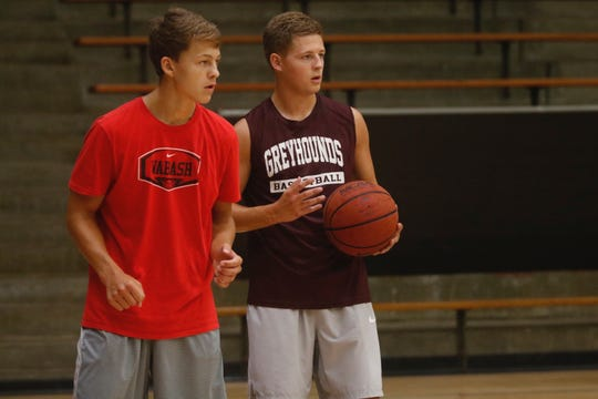 The Davidson brothers, Jack (left) and Eric, who played at the University of Indianapolis, used to have free throw competitions growing up.