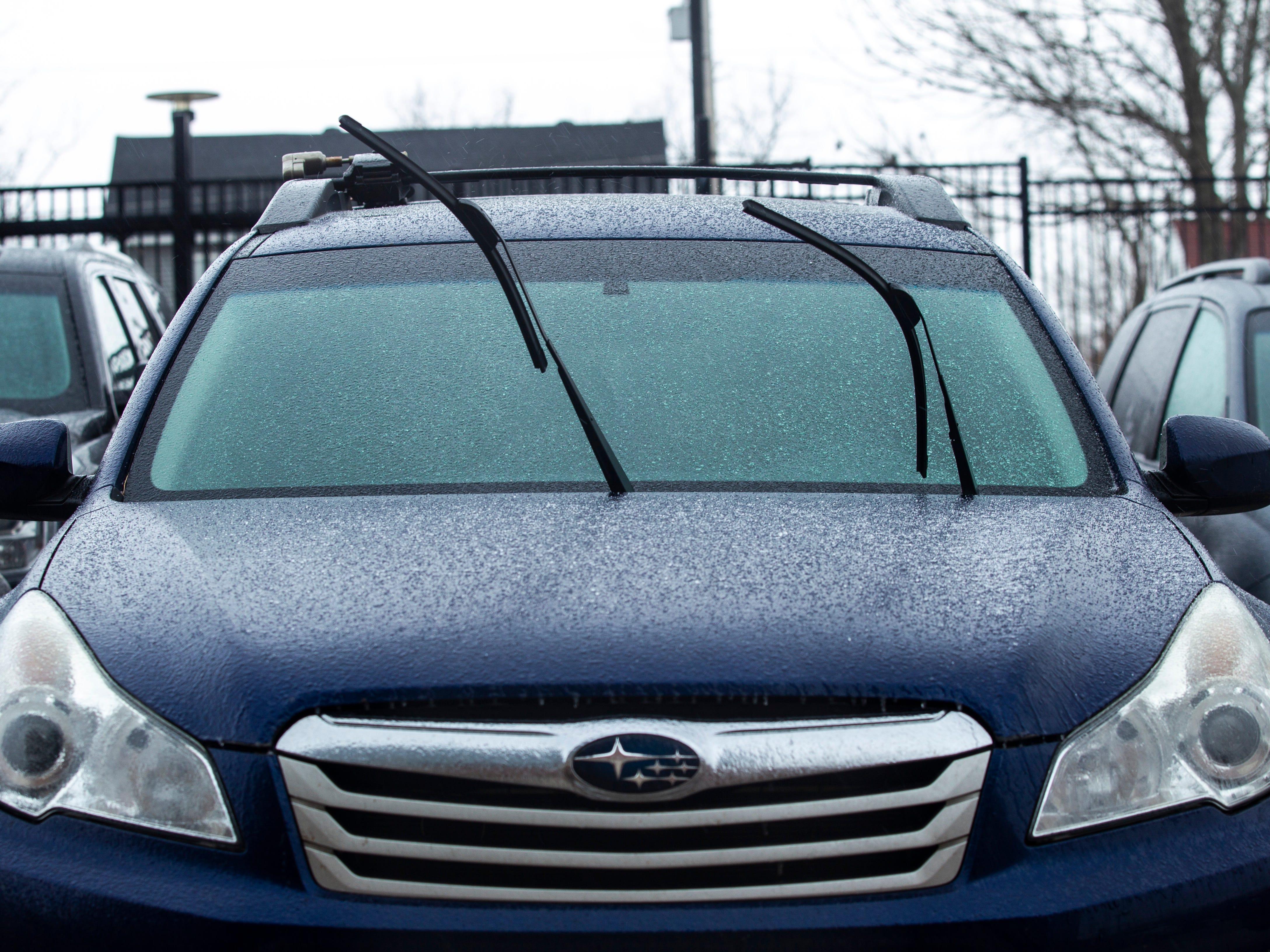 Freezing rain falls on Tuesday, Feb. 5, 2019, in Iowa City, Iowa.