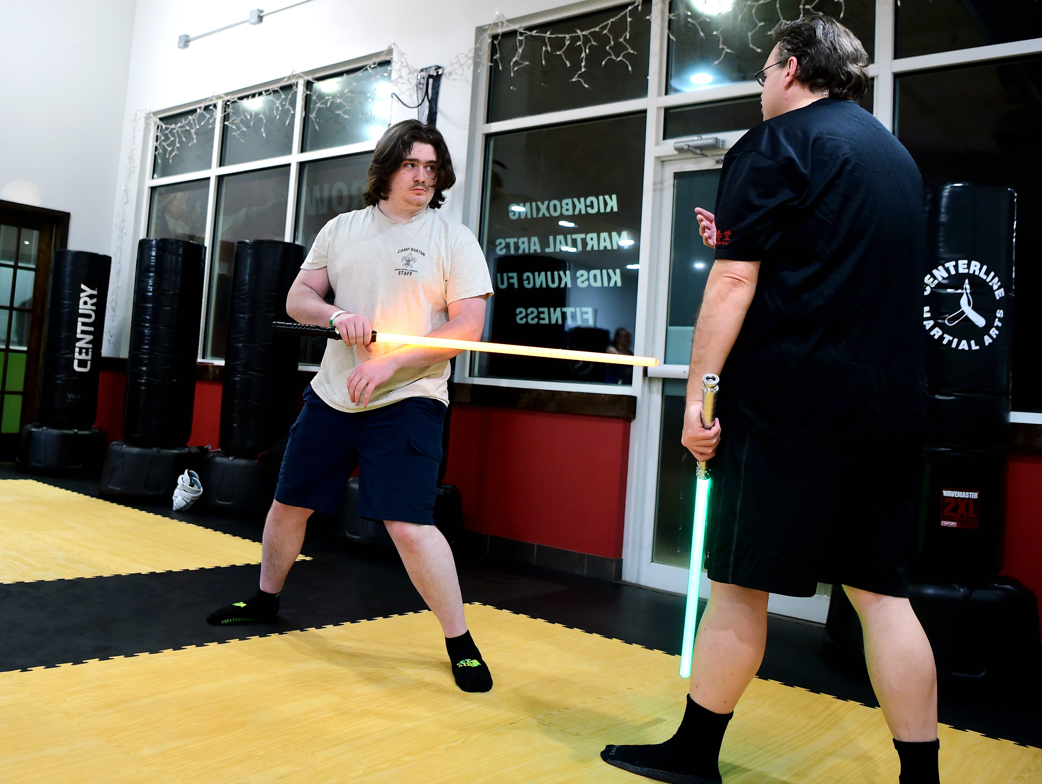 Ithaca Sabers approaches lightsaber combat as a martial art and meets weekly at Centerline Fitness & Martial Arts in Ithaca.  February 4, 2019.