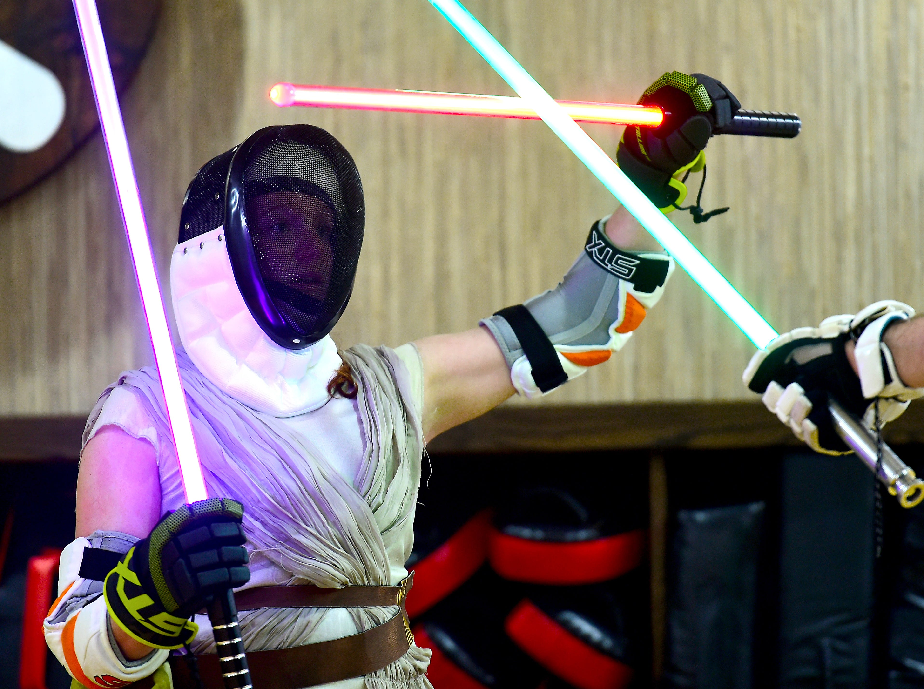 Sarah Ridenour of Danby during the group's weekly lightsaber combat session at Centerline Fitness & Martial Arts in Ithaca.  February 4, 2019.