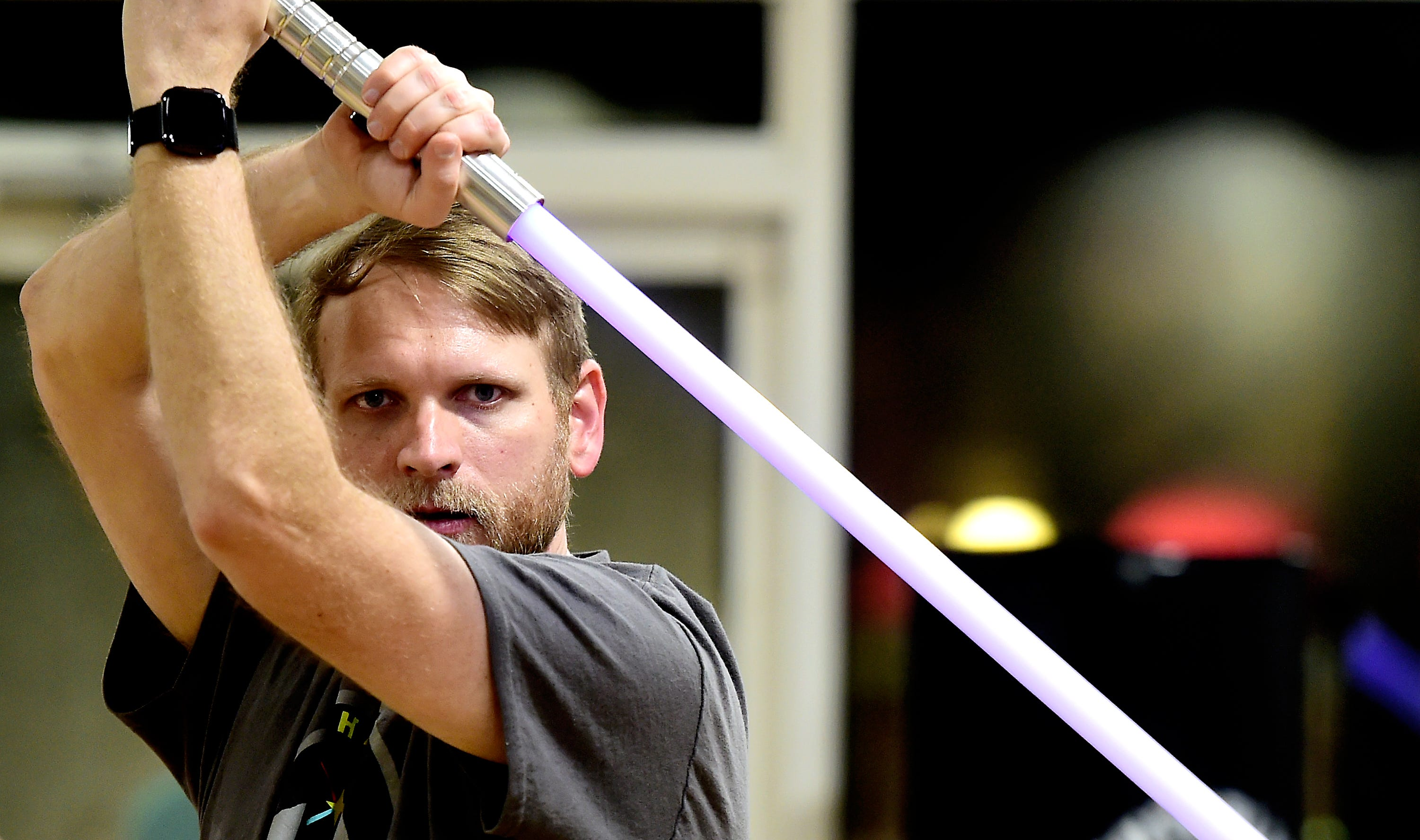 Terry Gray of Lansing during the weekly meeting of the Ithaca Sabers lightsaber combat group at Centerline Fitness & Martial Arts in Ithaca.  February 4, 2019.
