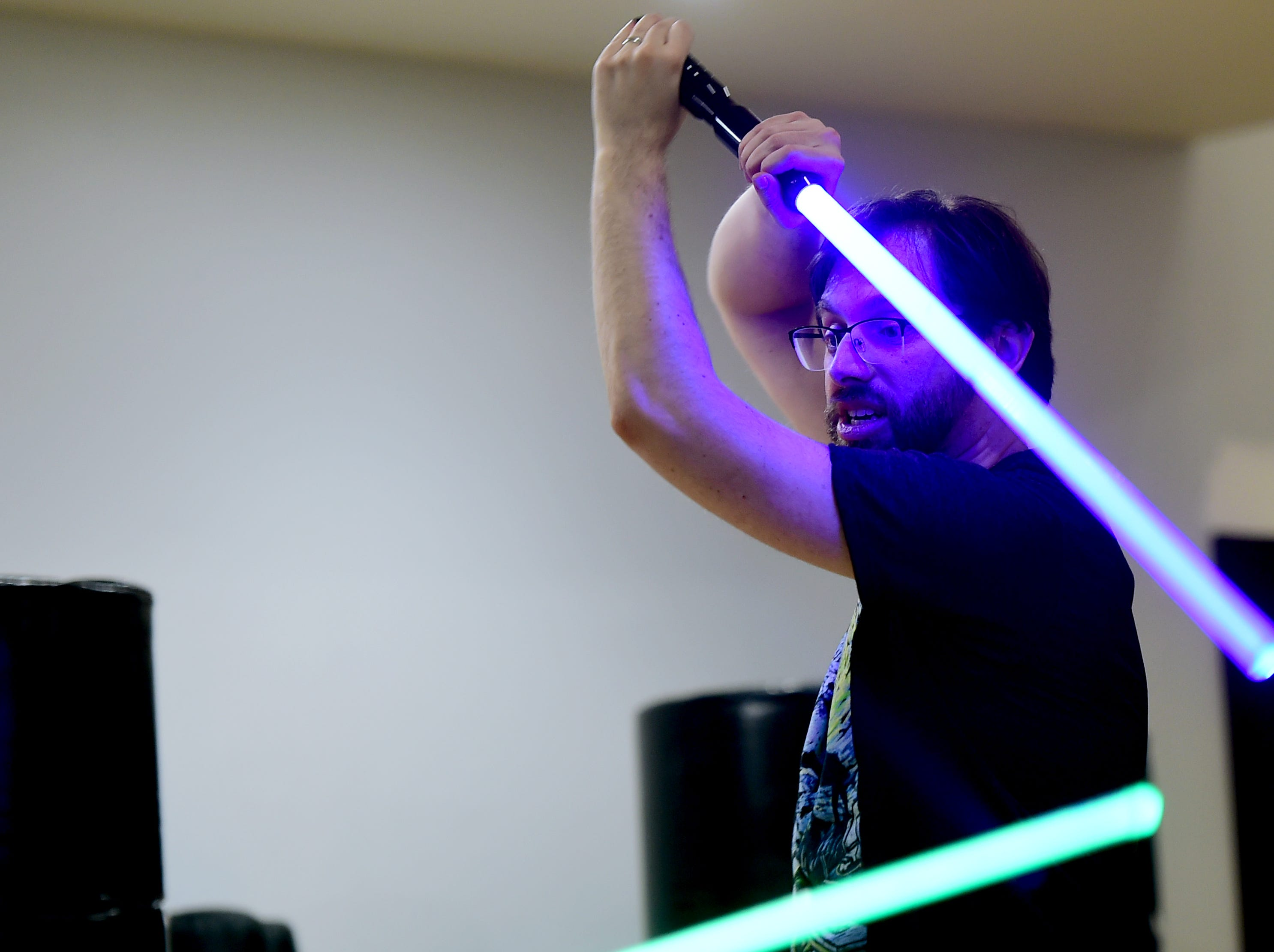 Andrew Hocking of Ithaca during the Ithaca Sabers weekly lightsaber combat session at Centerline Fitness & Martial Arts in Ithaca.  February 4, 2019.