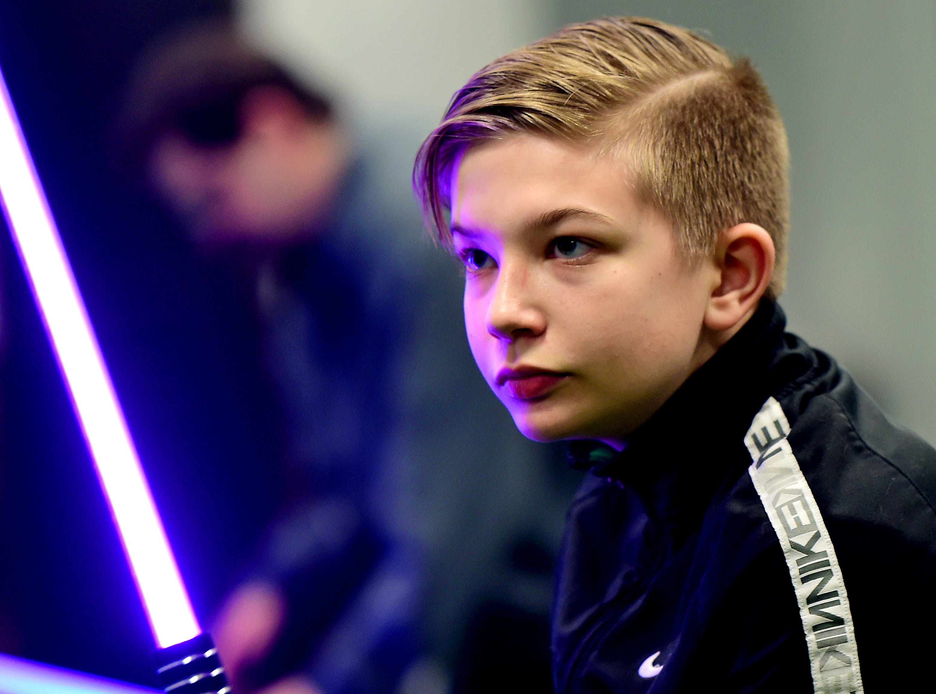 Eli Cornwell of Van Etten, 12, practices his lightsaber skills at the weekly meeting of the Ithaca Sabers at Centerline Fitness & Martial Arts in Ithaca.  February 4, 2019.