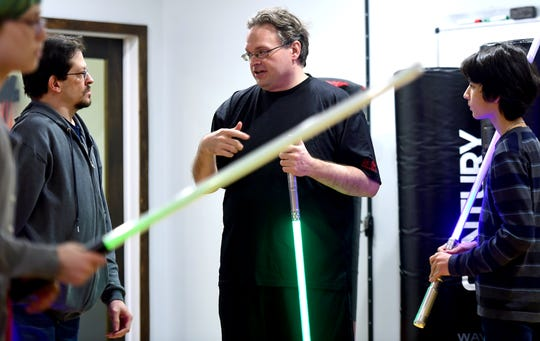 Ben Judkins is the organizer of the Ithaca Sabers and an instructor. The group approaches lightsaber combat as a martial art and meets weekly at Centerline Fitness & Martial Arts in Ithaca.  February 4, 2019.