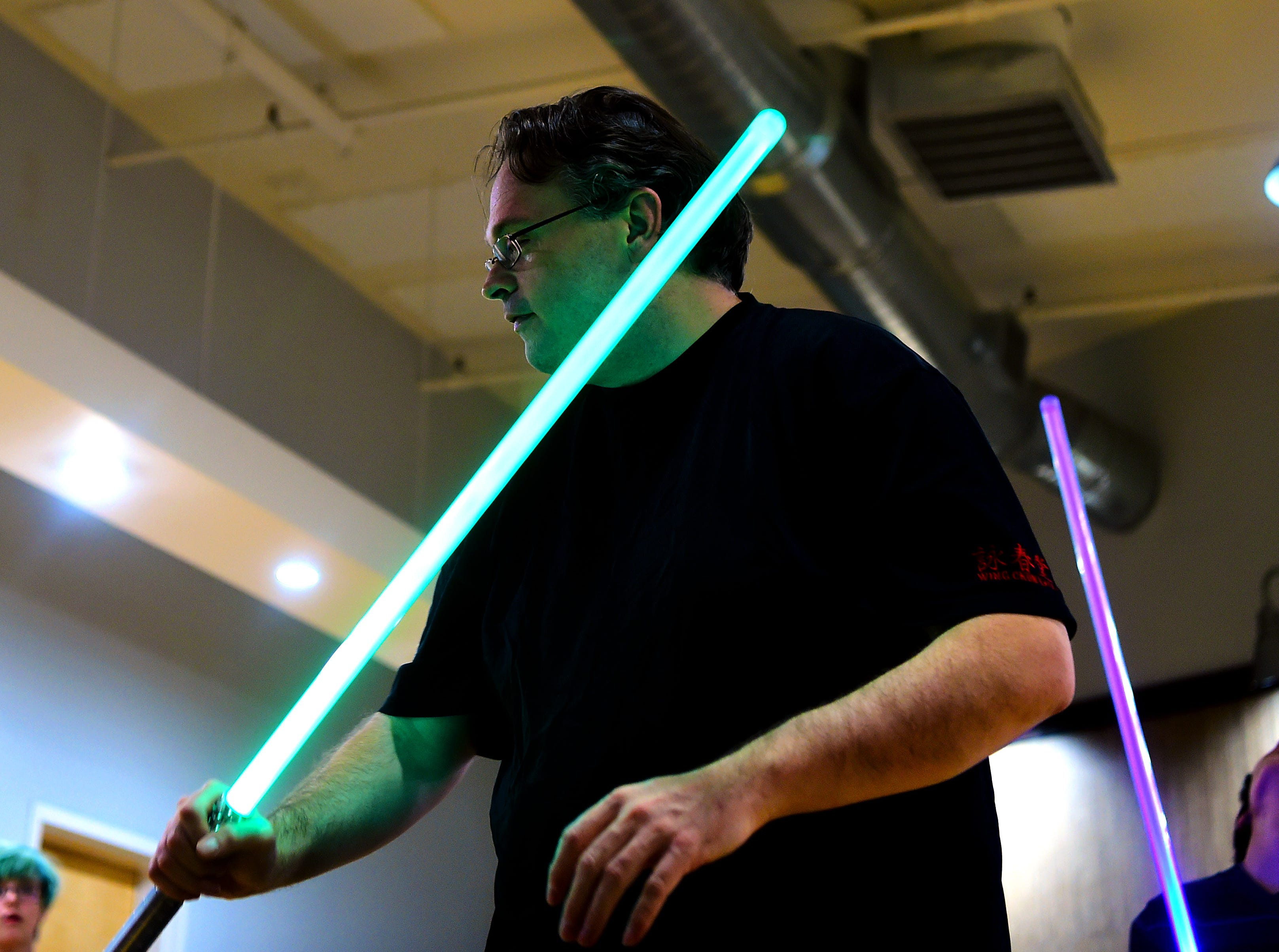 Ben Judkins is the organizer of the Ithaca Sabers. The group approaches lightsaber combat as a martial art and meets weekly at Centerline Fitness & Martial Arts in Ithaca.  February 4, 2019.