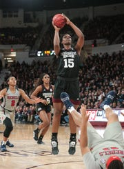 Mississippi State's Teaira McCowan has been named to the late season watch list for the Wooden Award. She's one of 20 players still being considered for the player of the year award. Photo by Keith Warren