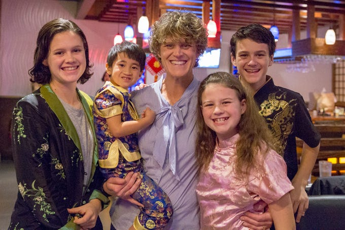 Meredith, Charlie (5), adopted in May 2016, Kelly, Mary Kinsley, and Braden Nye