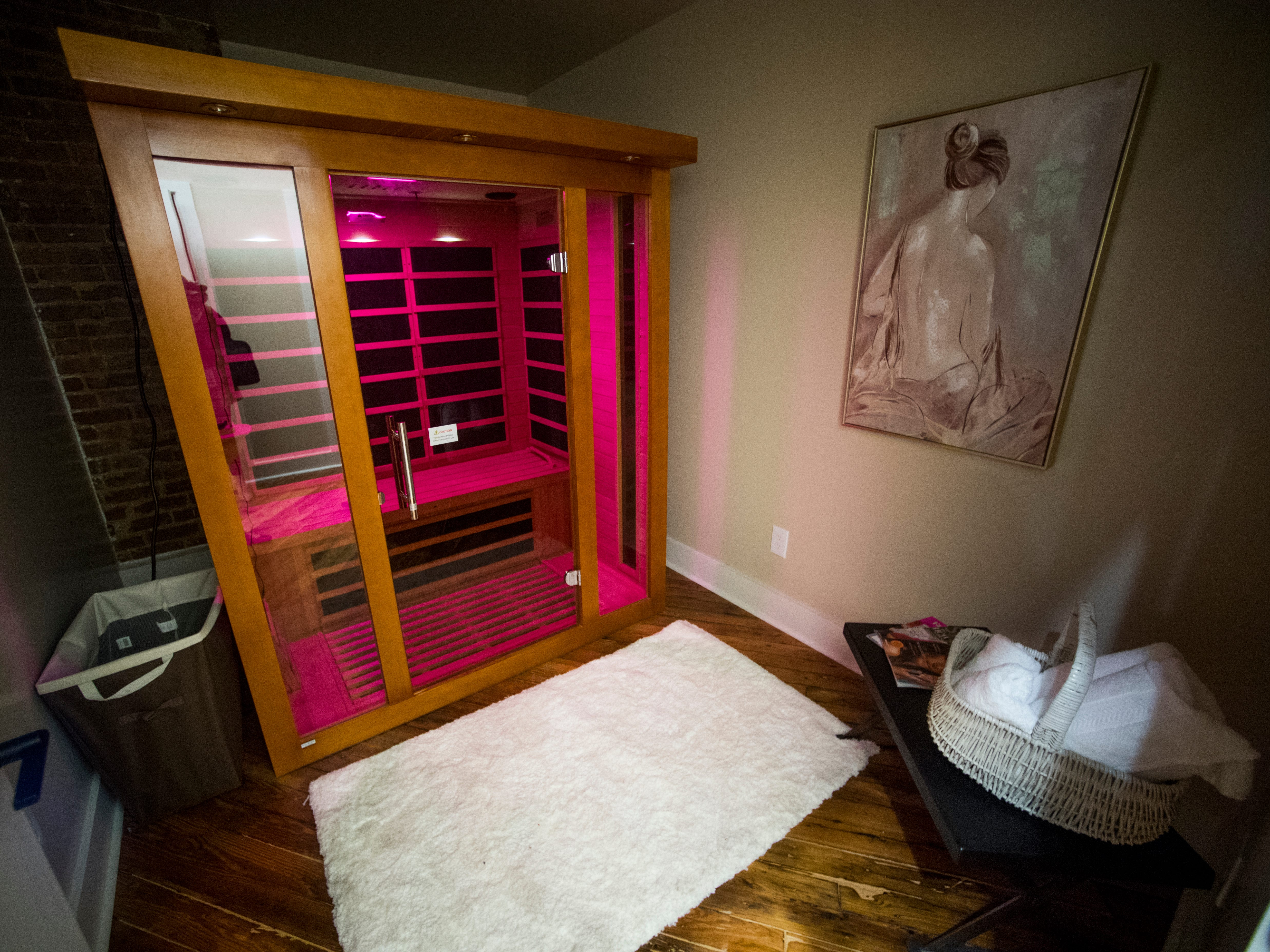 The infrared sauna room at Old City MedSpa in downtown Knoxville on Monday, February 4, 2019.