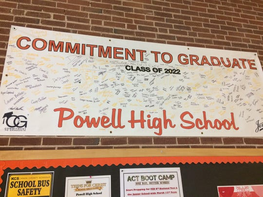 This banner is a commitment to graduate and is signed by all the members of the freshman class.