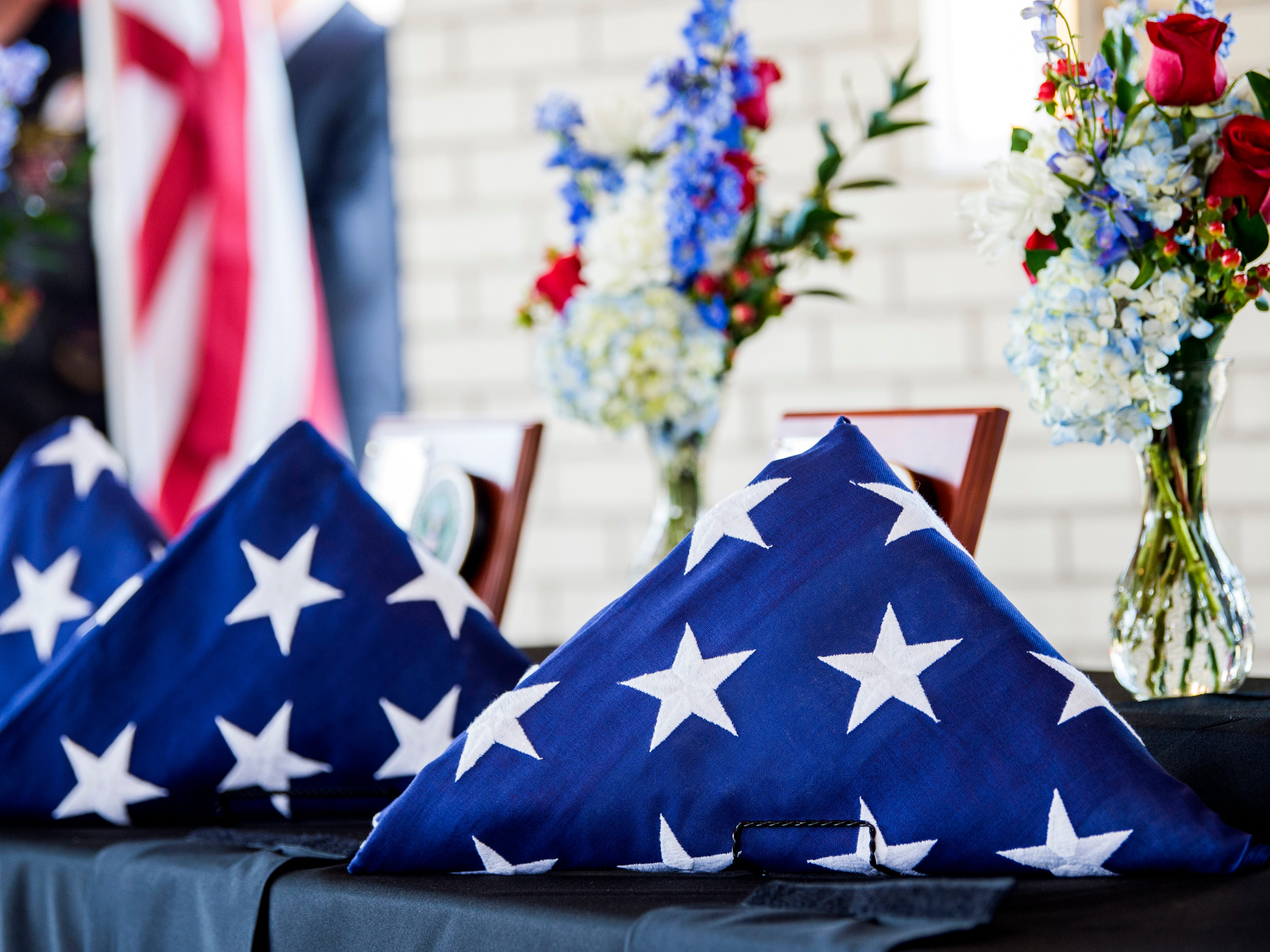 Folded flags were presented for each of the seven veterans buried during a military memorial service at the East Tennessee Veterans Cemetery on Gov. John Sevier Highway on Tuesday, February 5, 2019.