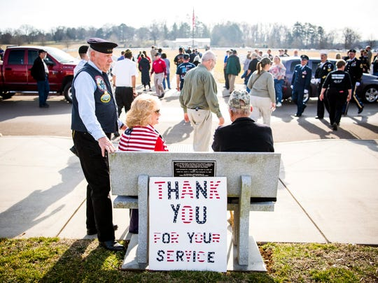Veterans and other mourners leave depart the East Tennessee Veterans Cemetery after a military memorial service for seven veterans whose bodies were unclaimed.