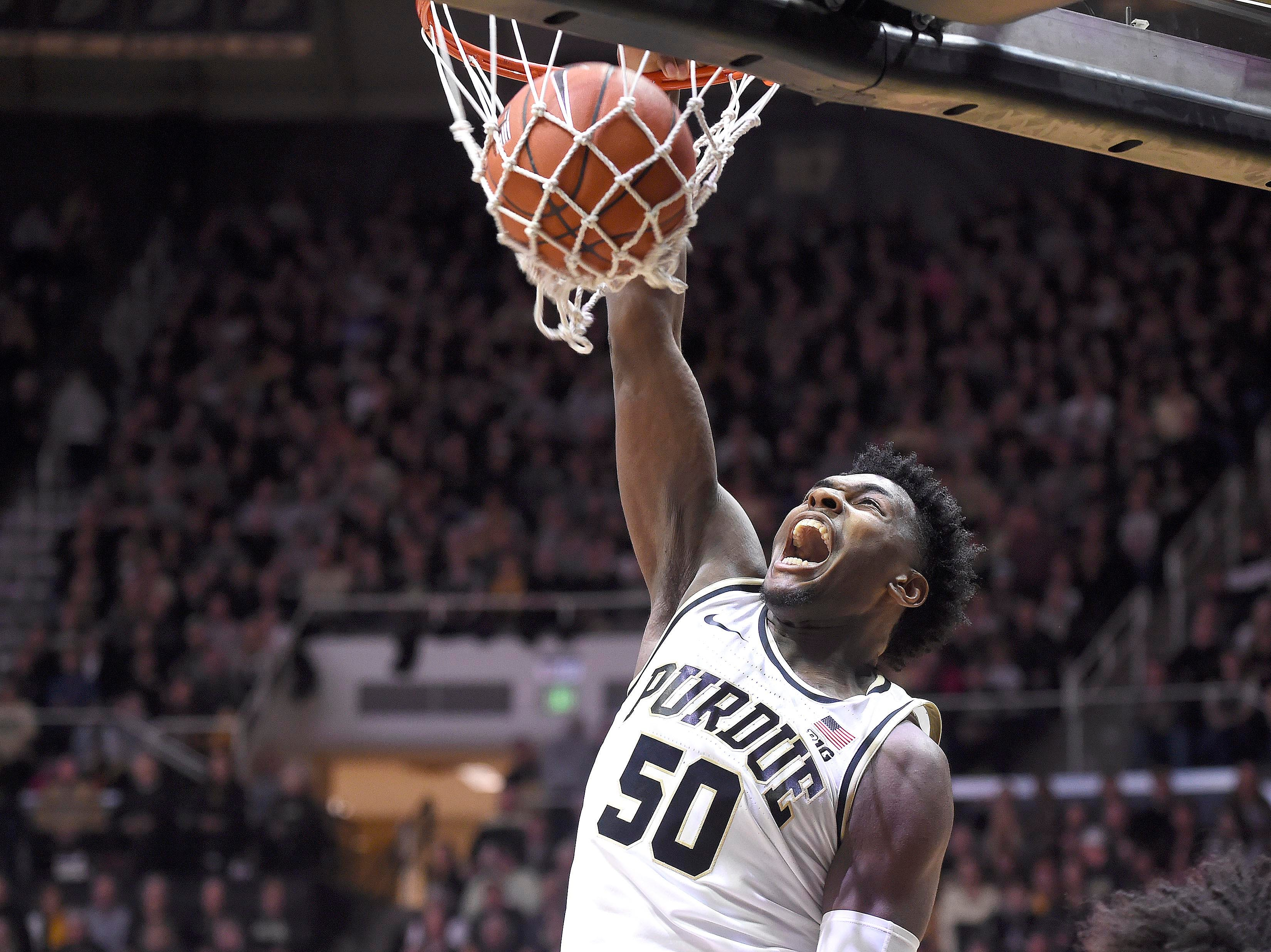 Feb 3, 2019; West Lafayette, IN, USA; Purdue Boilermakers forward Trevion Williams (50) dunks the ball against the Minnesota Golden Gophers in the first half at Mackey Arena. Mandatory Credit: Sandra Dukes-USA TODAY Sports