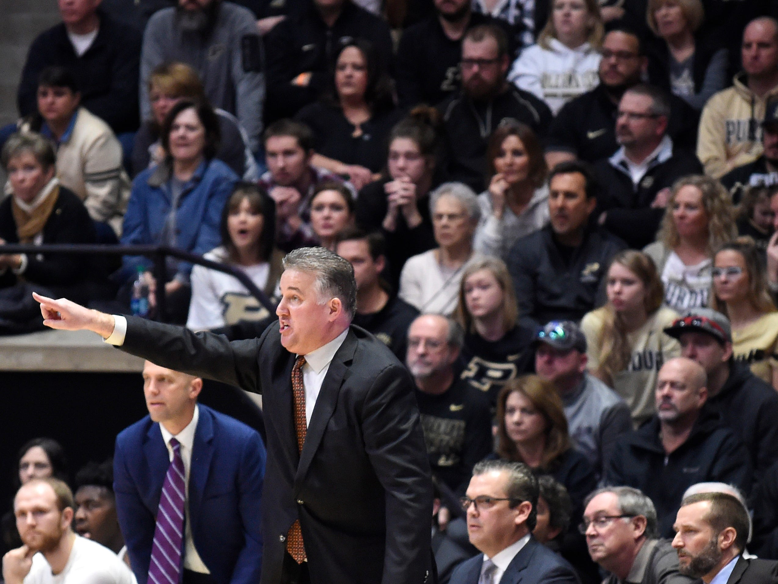 Feb 3, 2019; West Lafayette, IN, USA; Purdue Boilermakers head coach Matt Painter reacts in the first half at Mackey Arena. Mandatory Credit: Sandra Dukes-USA TODAY Sports