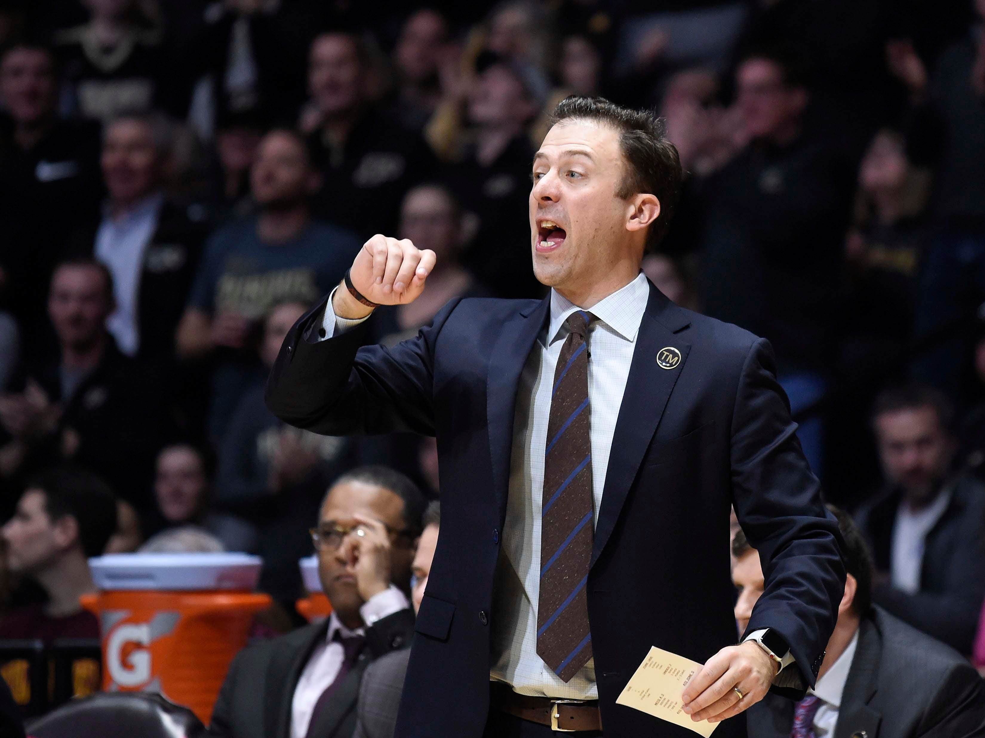 Feb 3, 2019; West Lafayette, IN, USA; Minnesota Golden Gophers head coach Richard Pitino in the game against Purdue Boilermakersin the  2nd half at Mackey Arena. Mandatory Credit: Sandra Dukes-USA TODAY Sports