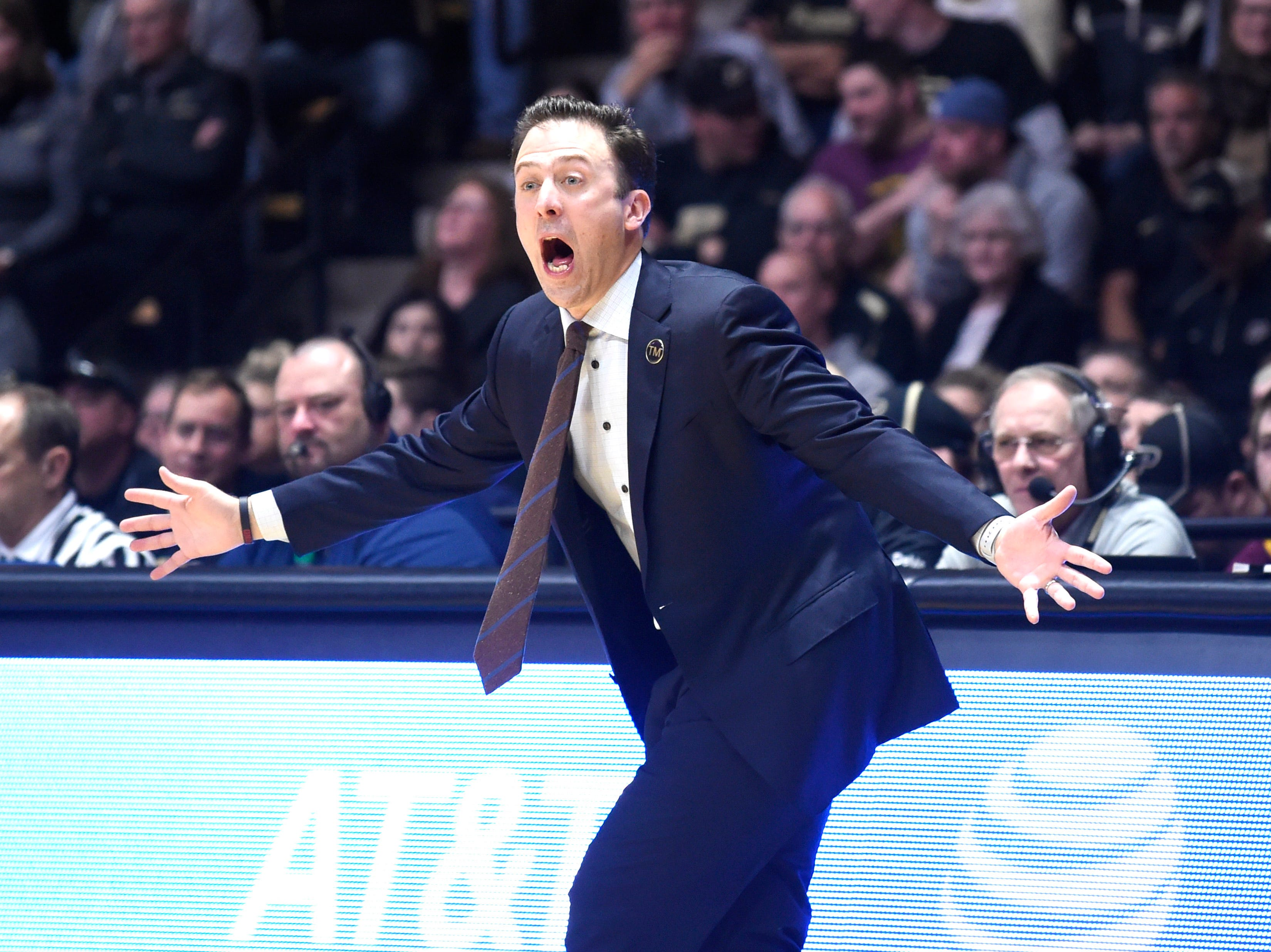 Feb 3, 2019; West Lafayette, IN, USA; Minnesota Golden Gophers head coach Richard Pitino reacts in the game against Purdue Boilermakers in the first half at Mackey Arena. Mandatory Credit: Sandra Dukes-USA TODAY Sports