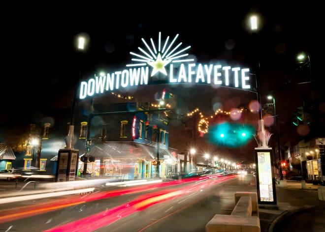 Nightime photo of Downtown Lafayette sign on Jefferson st in Lafayette, LA. 12/14/18